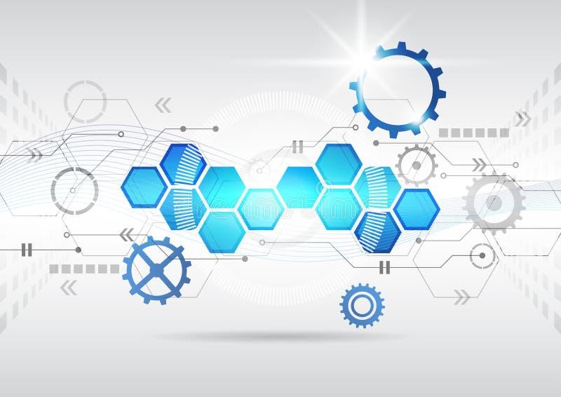 Computertechnologie-Geschäftshintergrund des abstrakten futuristischen Stromkreises hoher stock abbildung