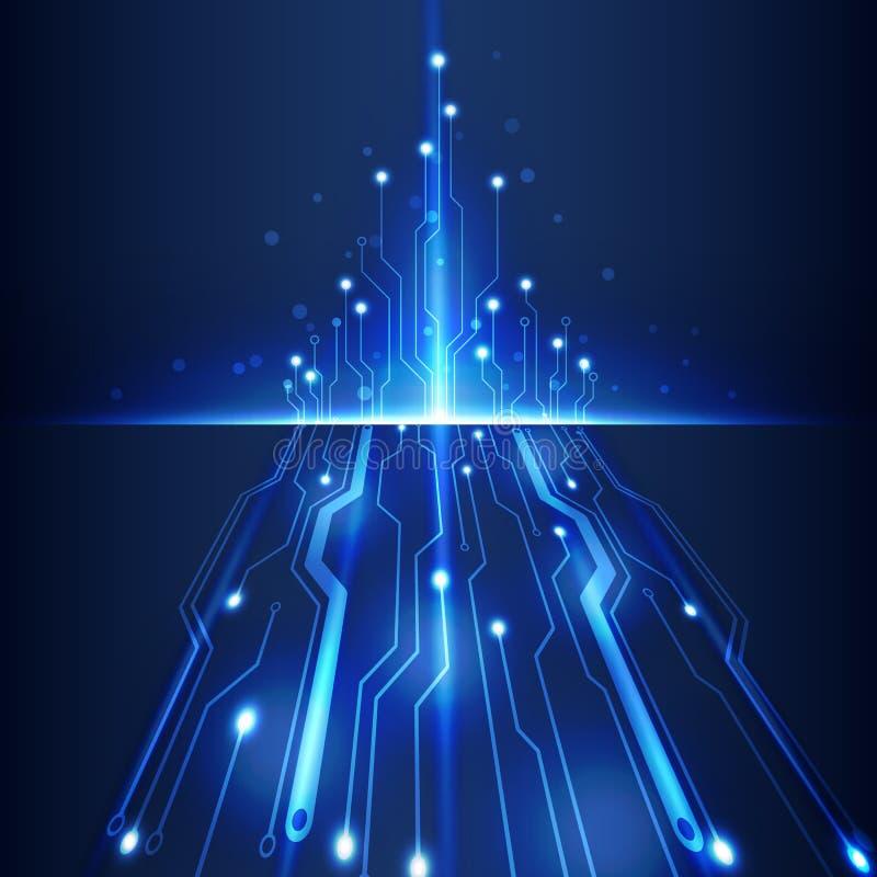 Computertechnologie-Geschäftshintergrund-Vektorillustration des abstrakten futuristischen Stromkreises hohe lizenzfreie abbildung