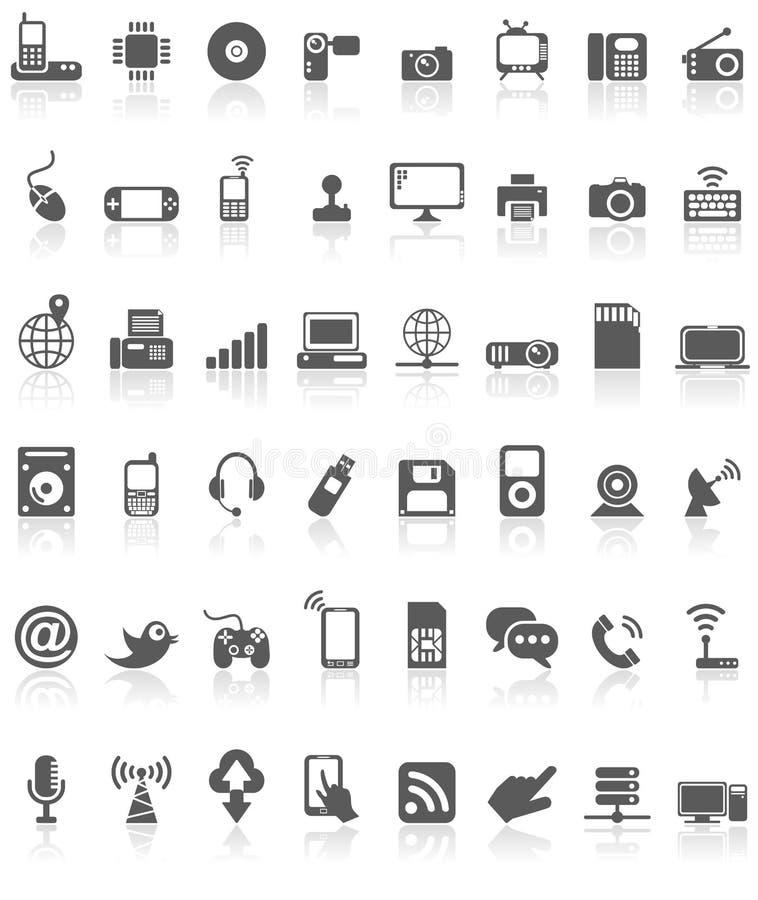 Computertechnologie-Ikonen-Sammlungs-Schwarzes auf Weiß stock abbildung