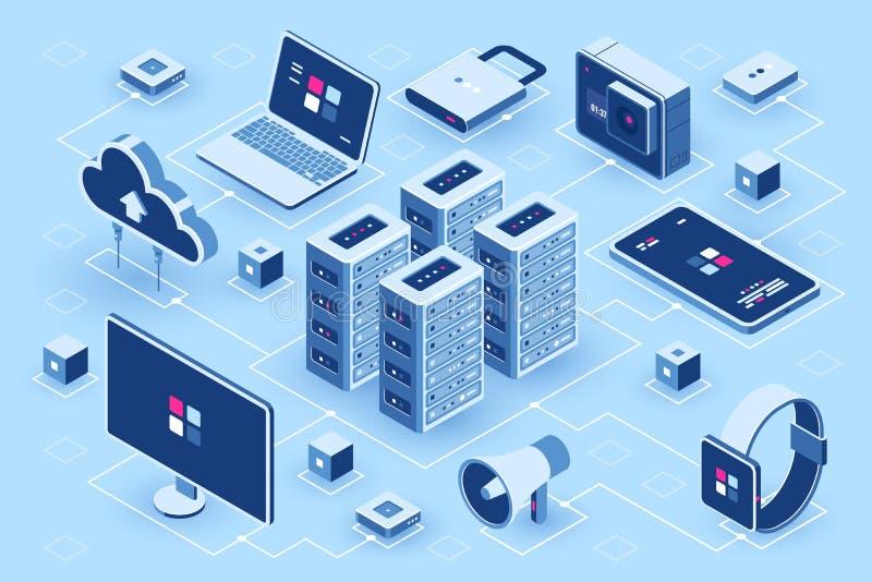Computertechnologie isometrisch pictogram, serverruimte, digitale apparatenreeks, element voor ontwerp, PC-laptop, mobiele telefo vector illustratie