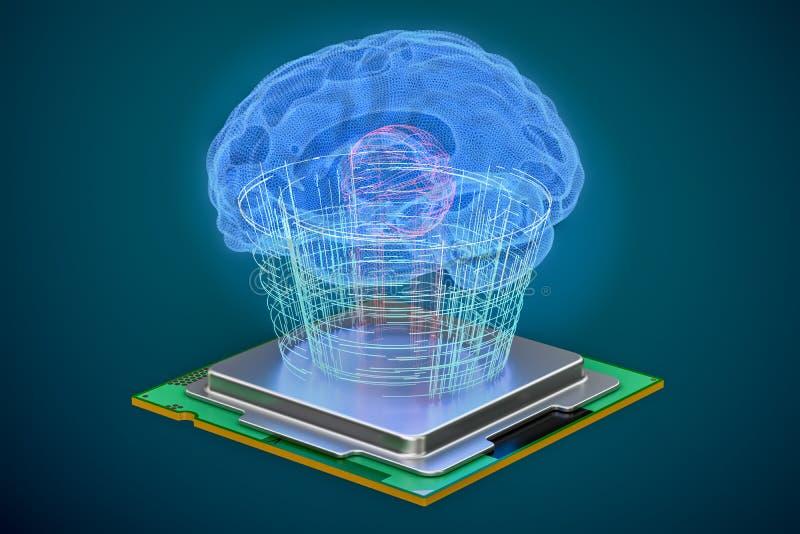 Computertechnologiekonzept der künstlichen Intelligenz Menschliches Gehirn stock abbildung