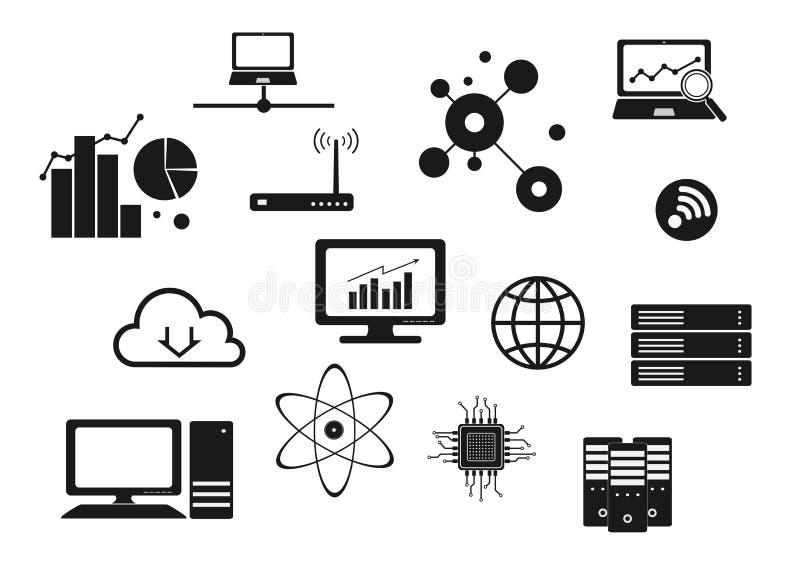 Computertechnologienetz und Internet-Ikonensatz stock abbildung
