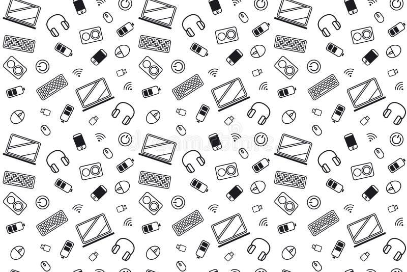 Computerteilikonen Musterbeschaffenheit, die nahtloses einfarbiges Schwarzweiss wiederholt lizenzfreie abbildung