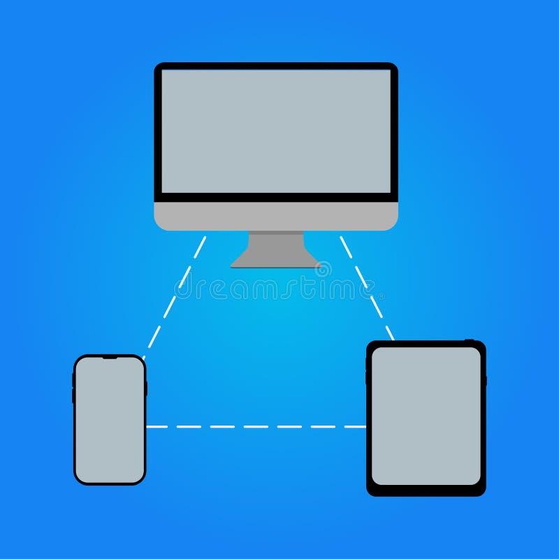 Computertelefontablette verbunden mit gegenseitig stock abbildung