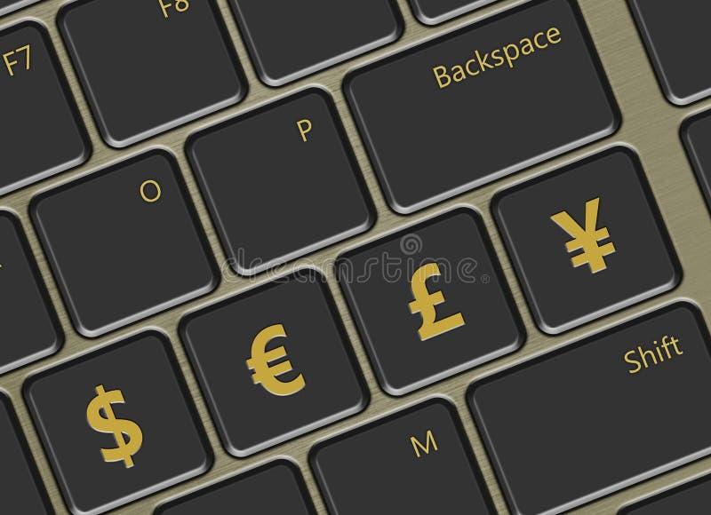 Computertoetsenbord met de hoofdknopen van wereldmunten royalty-vrije illustratie