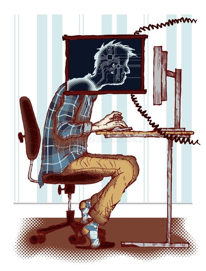 Computerverslaving royalty-vrije illustratie