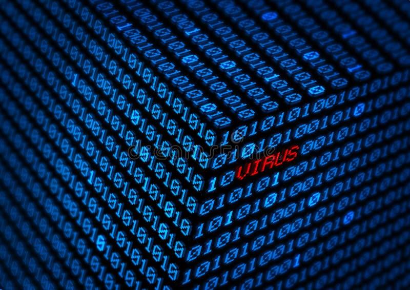 Computervirus-binär Code-Datenkonzept lizenzfreie abbildung