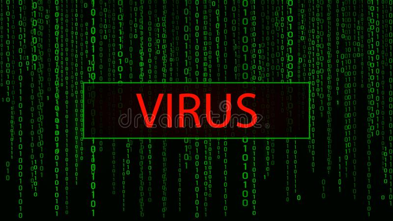 Computervirus Cyberangriff zerhacken Gr?ne Matrix Digital-Hintergrundes Bin?rer Computercode Auch im corel abgehobenen Betrag lizenzfreie abbildung