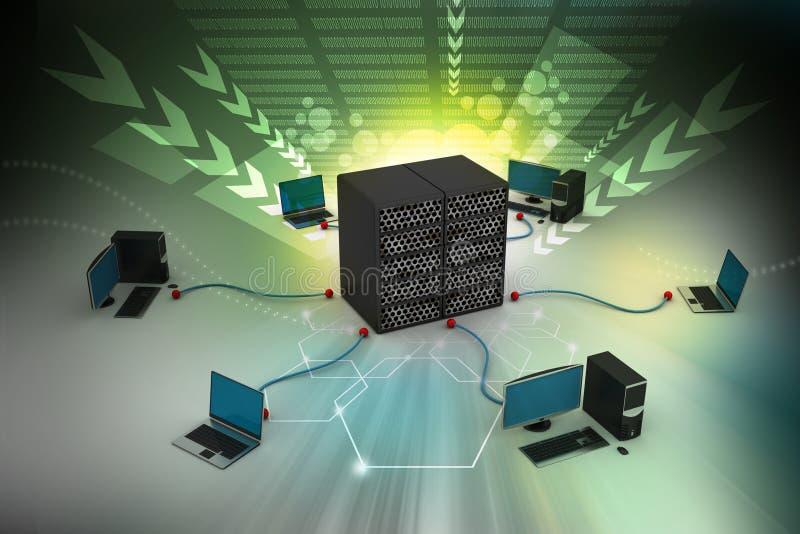 Computervoorzien van een netwerk vector illustratie