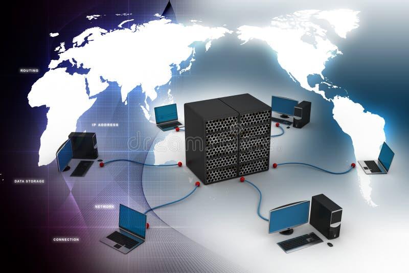 Computervoorzien van een netwerk stock illustratie