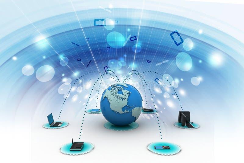 Computervoorzien van een netwerk met bol royalty-vrije illustratie