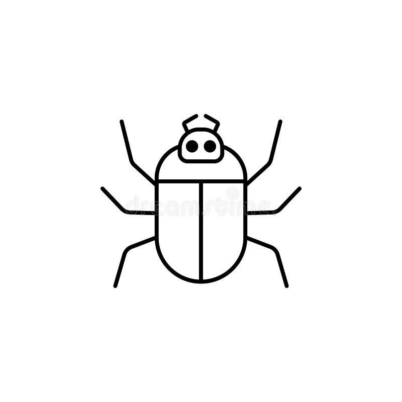 Computerwanzen-Entwurfsikone lineares Artzeichen für bewegliches Konzept und Webdesign Einfache Linie Vektorikone des Computervir stock abbildung