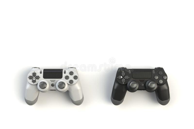 Computerwedstrijd Gameconcept Witte en zwarte joystick geïsoleerd op witte achtergrond royalty-vrije illustratie