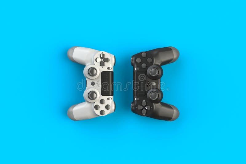 Computerwedstrijd Gameconcept Witte en zwarte joystick geïsoleerd op blauwe achtergrond royalty-vrije illustratie