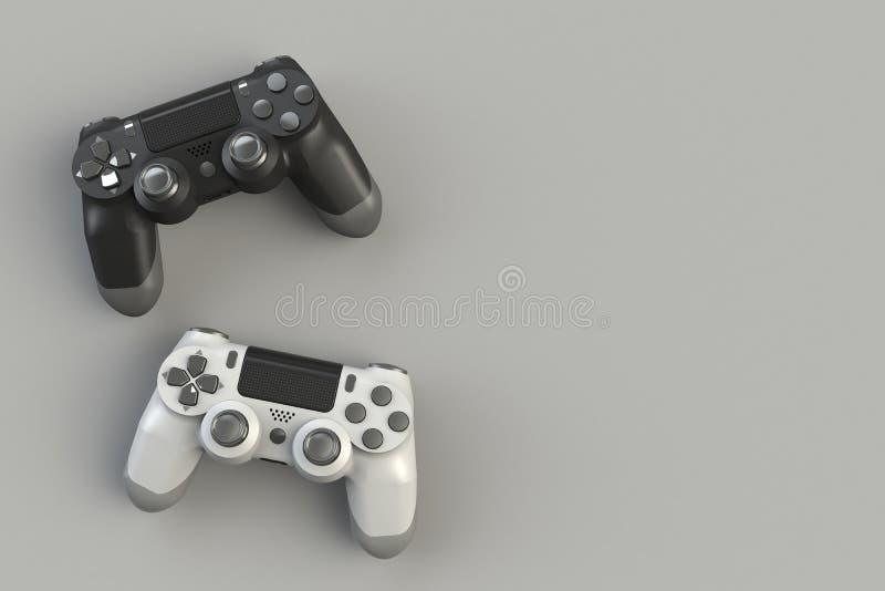 Computerwedstrijd Gameconcept Witte en zwarte joystick geïsoleerd op grijze achtergrond vector illustratie