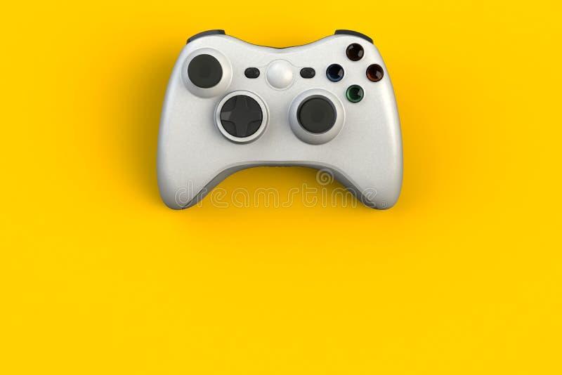 Computerwedstrijd Gameconcept Witte joystick geïsoleerd op gele achtergrond royalty-vrije illustratie
