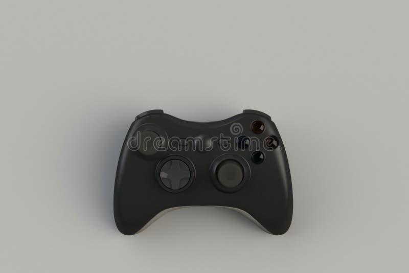 Computerwedstrijd Gameconcept Zwarte joystick geïsoleerd op grijze achtergrond stock illustratie
