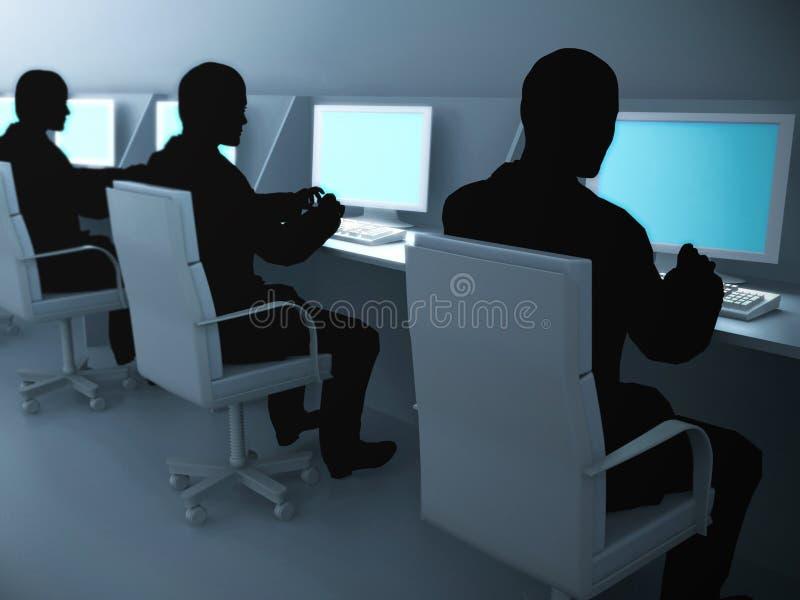 Computerzaal. vector illustratie