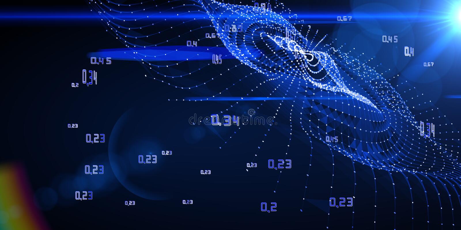 Computing algorithm artificial cryptography infographic. Big data visualization stock photo