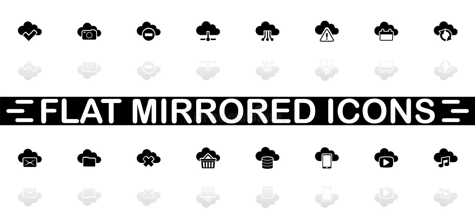 Computing Cloud - Flat Vector Icons. Computing Cloud icons - Black symbol on white background. Simple illustration. Flat Vector Icon. Mirror Reflection Shadow vector illustration