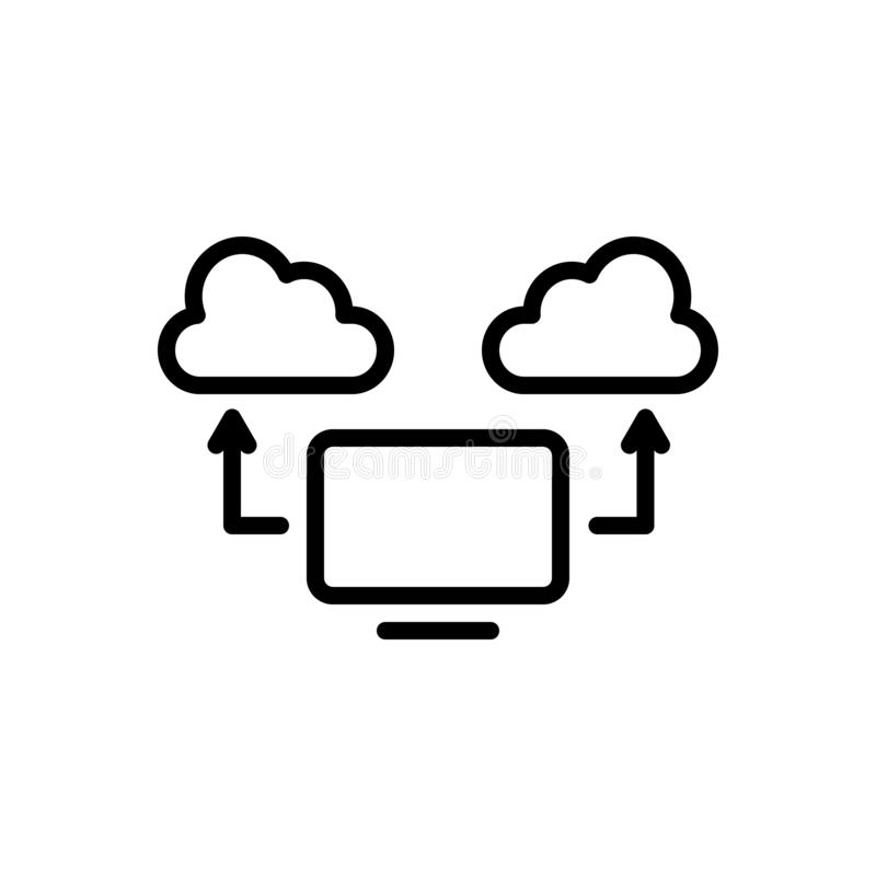 Black line icon for Computing Cloud, computing and communication. Black line icon for Computing Cloud, data, database, devices, server, network,  computing and stock illustration