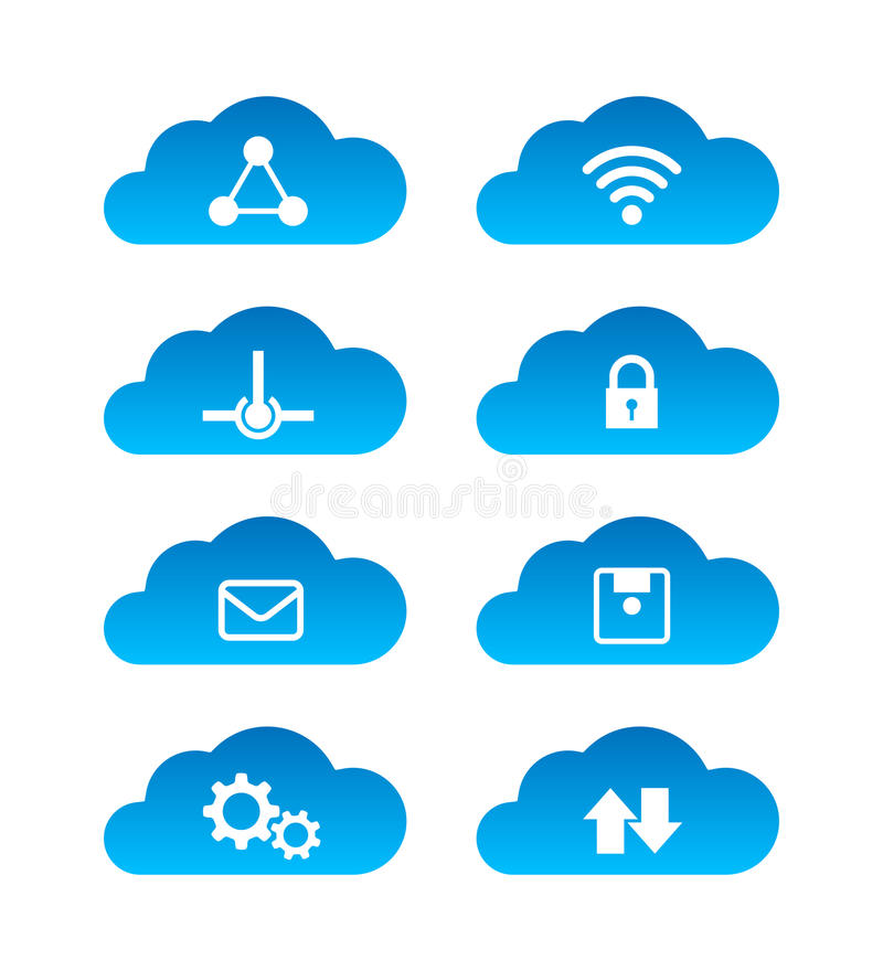 Computing cloud technology icon set isolated on white background. Vector EPS 10 royalty free illustration