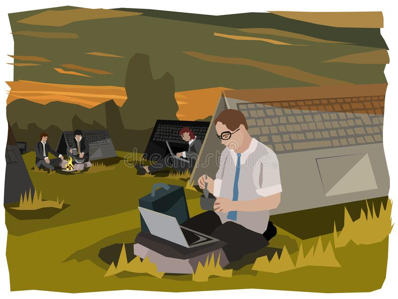 Computing digital nomads doing their businesses in front of notebook sleeping places stock illustration