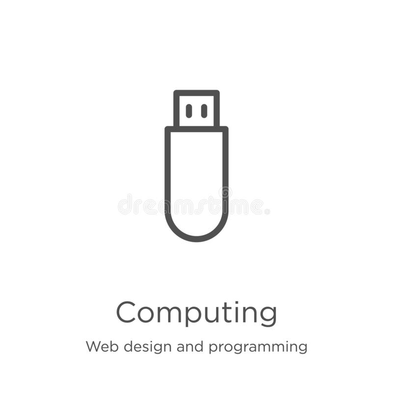 Computing icon vector from web design and programming collection. Thin line computing outline icon vector illustration. Outline,. Computing icon. Element of web royalty free illustration