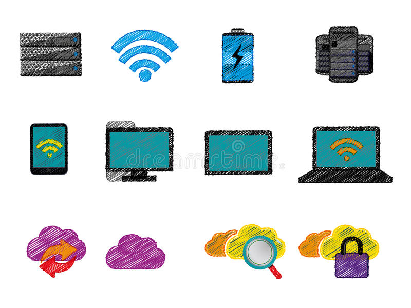 Computing icons stock illustration
