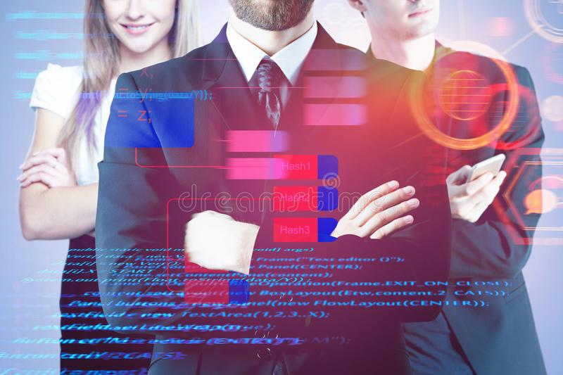 Computing and teamwork concept. Businessmen with folded arms standing on abstract digital background. Computing and teamwork concept. Double exposure stock photo