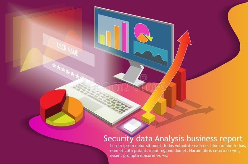 Computor isométrico da análise de dados do negócio 3d ilustração do vetor