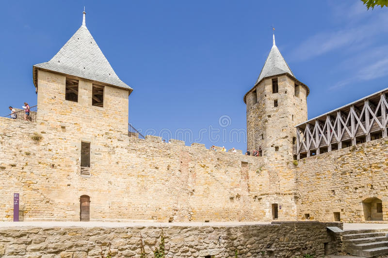 Comtal castle fortifications in the fortress of Carcassonne (France), 1130. UNESCO List. Chateau Comtal is located within the fortress of Carcassonne, which was royalty free stock image