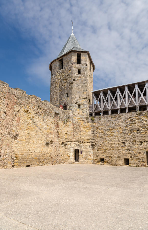 Comtal castle tower in the fortress of Carcassonne (France), 1130. UNESCO List. Chateau Comtal is located within the fortress of Carcassonne, which was founded stock photo