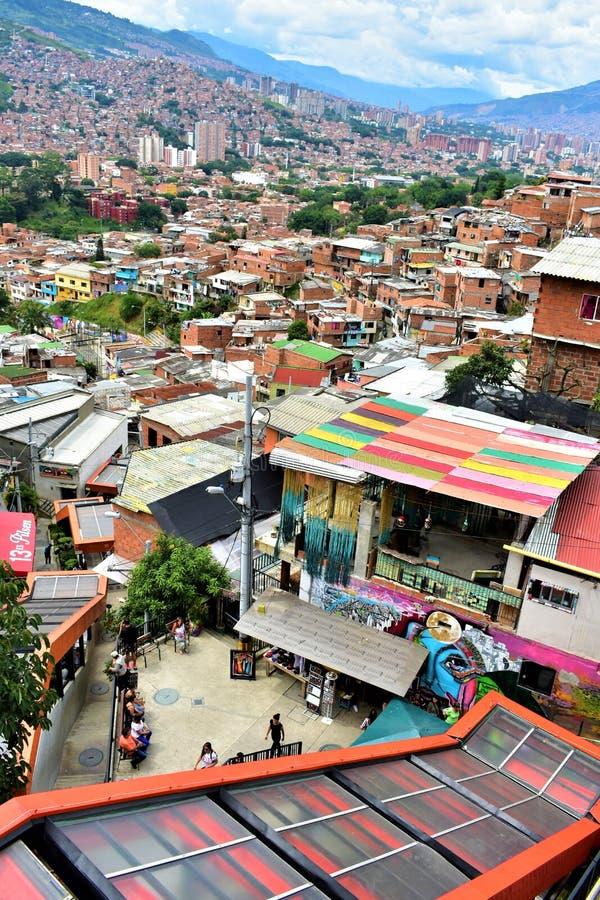 Comuna 13 DE medellin van Escaleras Engelse La royalty-vrije stock foto's