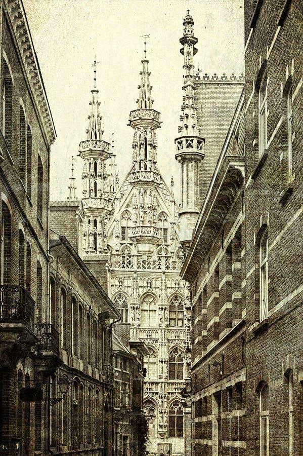 Comune e St Peter & x27; chiesa di s a Lovanio immagine stock libera da diritti