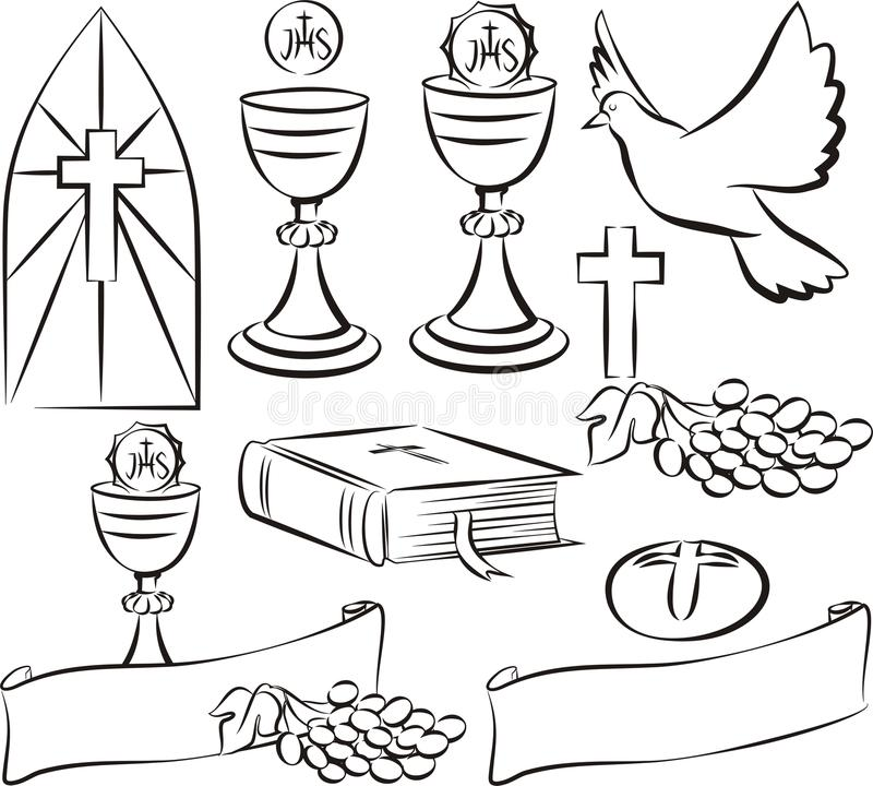 Comunión santa - símbolos del vector stock de ilustración