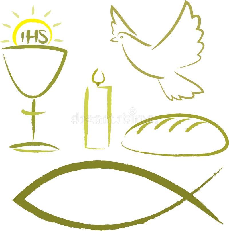 Comunión santa - símbolos religiosos stock de ilustración