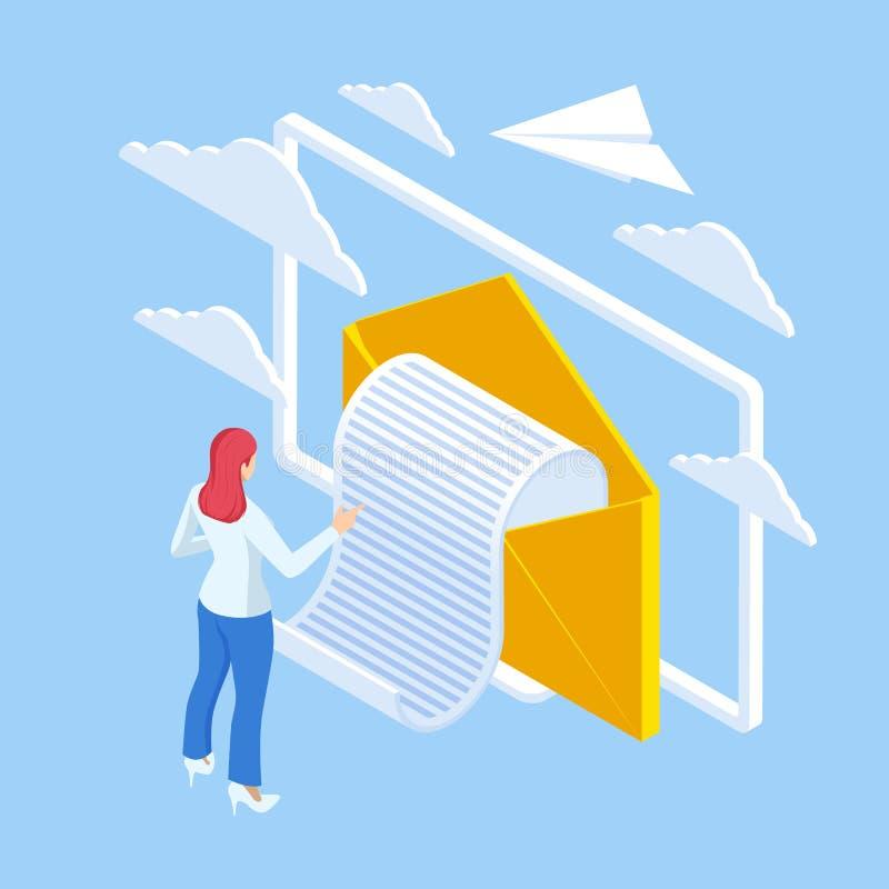 Comunicação Eletrônica da Caixa de Entrada de Email Isométrica Marketing por e-mail Recebendo mensagens Nova recepção de correio  ilustração royalty free