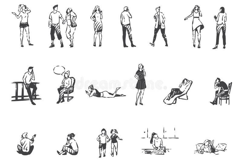 Comunicação telefônica, pessoas com esmartphones conceituais Vetor isolado desenhado à mão ilustração stock
