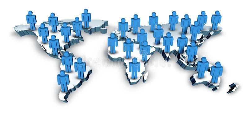 Comunicações globais com um mapa de mundo ilustração royalty free