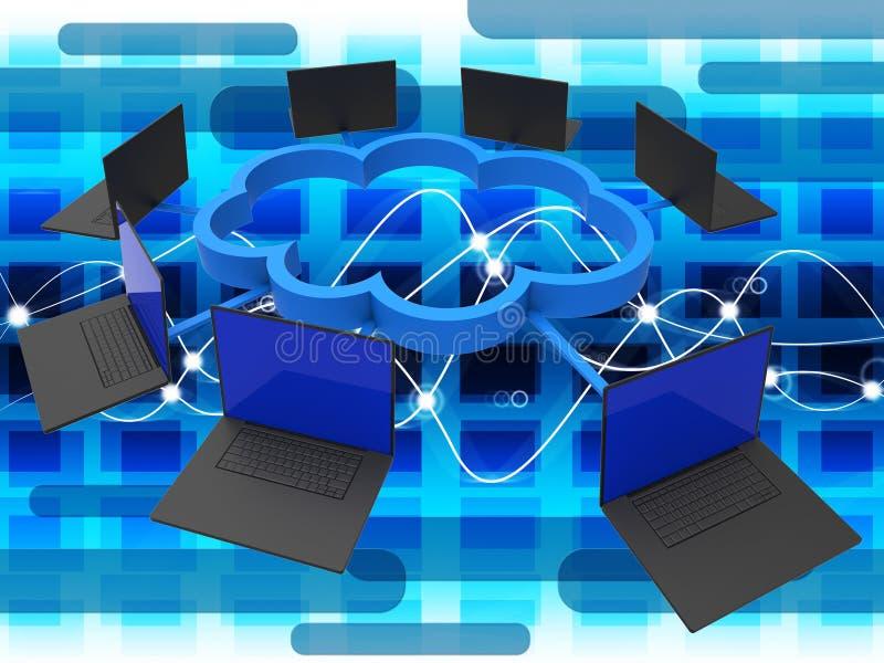 Comunicações globais de computação e computador das mostras da nuvem ilustração do vetor