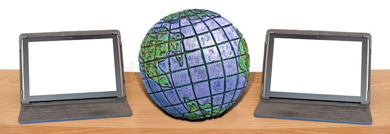 Comunicações internacionais da Web global em linha do Internet do computador imagens de stock