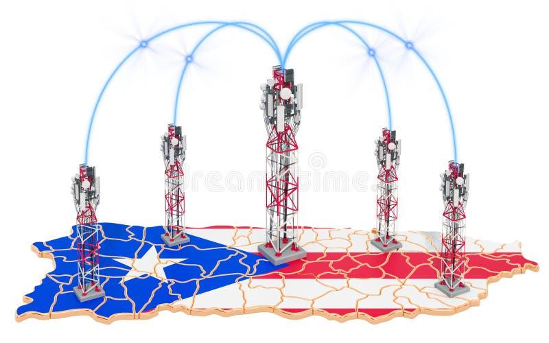 Comunicações móvéis em Porto Rico, torres da pilha no mapa rendi??o 3d ilustração do vetor