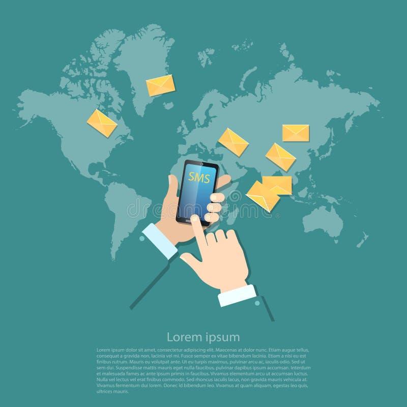 Comunicações que enviam, sms de Gobal do mms das mensagens ilustração royalty free