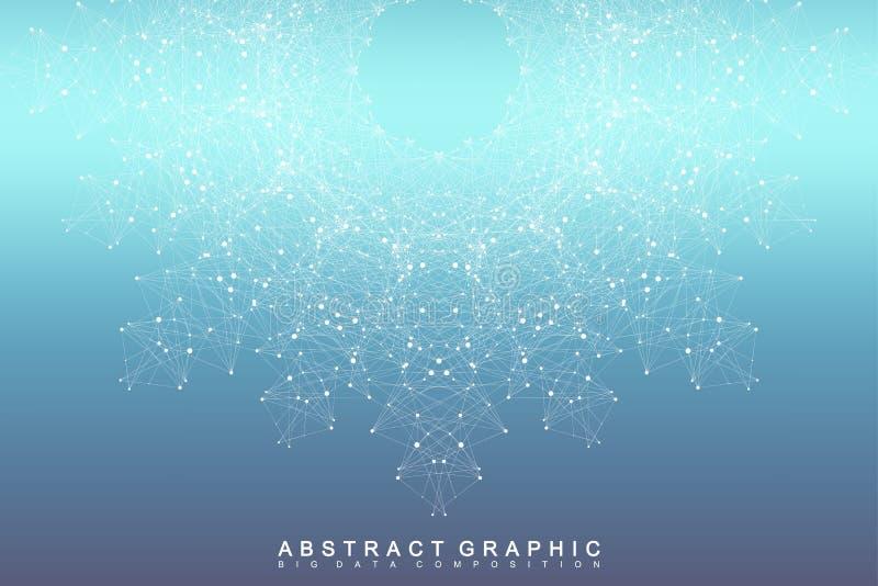 Comunicación abstracta gráfica del fondo Visualización grande de los datos Líneas conectadas con los puntos Redes sociales stock de ilustración