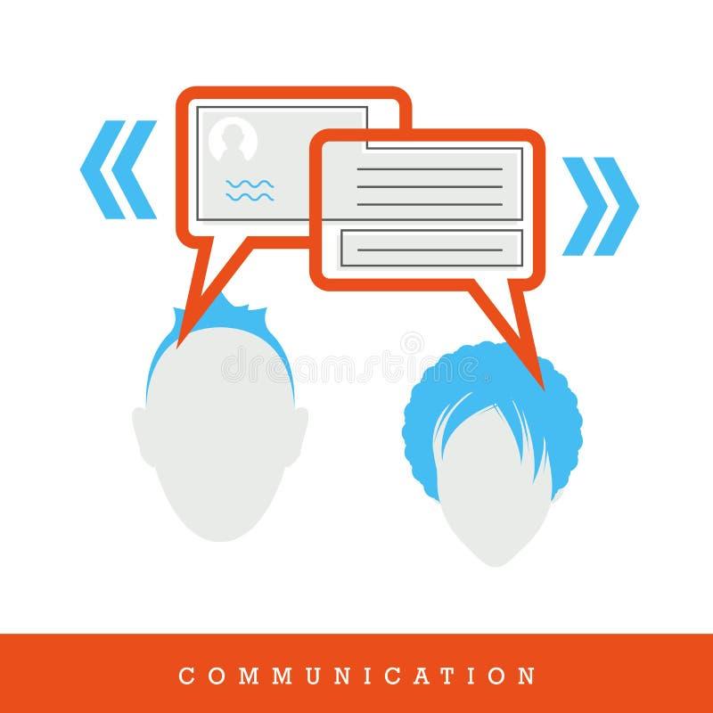 Comunicación Charla, diálogo de la gente - conversación - icono del concepto, diseño plano y línea fina ejemplo del vector del es stock de ilustración