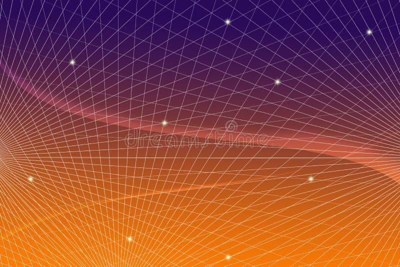 Comunicación científica de la tecnología de la información que dirige del fondo de la web de la red de la pendiente de la rejilla foto de archivo