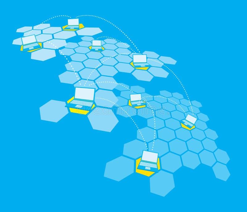 Comunicación compleja de la red del ordenador portátil ilustración del vector