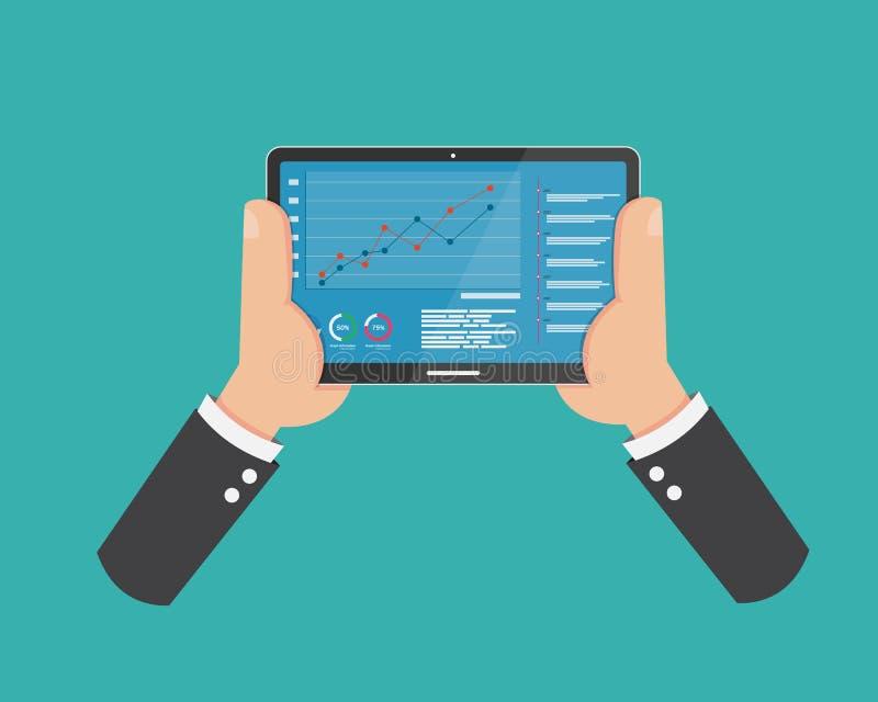 Comunicación de Digitaces social en la tableta elegante de la tenencia de la mano de PhoneFlat y la información del gráfico de la stock de ilustración