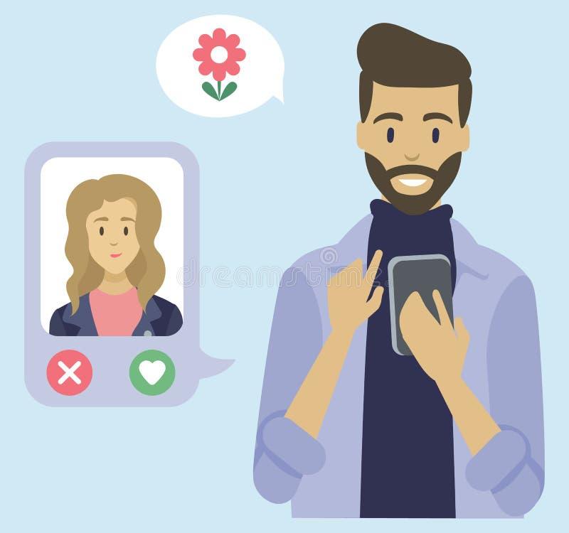 Comunicación de la gente con el teléfono, fechando vector stock de ilustración